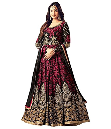 Diva & Diya Women\'s Embroidered Semi-Stitched Salwar Suit