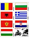 Stickers Adesivi Bandiere, Flag Ride Tour Europa 4 per Bauletti Moto