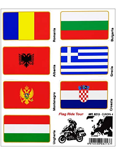 Stickers Adesivi Bandiere, Flag Ride Tour Europa 4 per Bauletti Moto