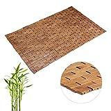 Relaxdays Bambusmatte, aufrollbar, Gummistopper, hygienisch, feuchtigkeitsbeständig, Fußmatte innen, 50 x 80 cm, Natur
