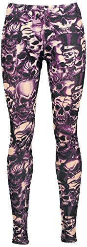 Alcatraz Purple Skull Leggings nero/porpora XL