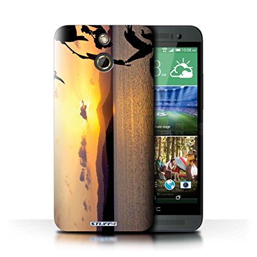 Kobalt® Imprimé Etui / Coque pour HTC One/1 E8 / Bateau de pêche conception / Série Coucher du Soleil Chaîne de montagne