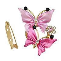 Gold Plated Charm Rhinestone Butterfly Scarf Buckle Brooch (Pink)