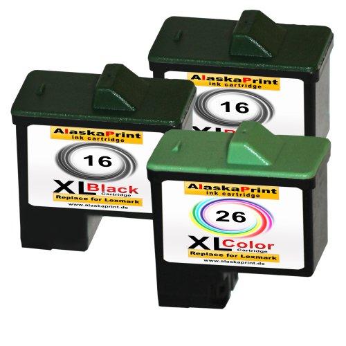 Premium 3er Set Kompatible Druckerpatronen Als Ersatz für Lexmark 16 XL + 26 XL für X1100 X1110 X1130 X1140 X1150 X1155 X1160 X1170 X1180 X1185 X1190 X1195 X1196 X1200 X1250 X1270 X1290 X2225 X2230 X2250 X72 X74 X75 X75 M Z13 Z23 Z23 E Z24 Z25 Z25 L Z33 Z34 Z35 Z503 Z510 Z511 Z512 Z514 Z515 Z516 Z517 Z52O Z601 Z602 Z603 Z605 Z611 Z612 Z614 Z615 Z617 Z640 Z645 Z717 Z817 Z819 2x16+1x26-lex (Lexmark Ersatz-patronen Von)