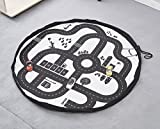 Tyhbelle Baby Aufräumsack Spieldecke, Kinder Spielzeug Speicher Tasche Aufräumsack Aufbewahrung Beutel Durchmesser 135cm (Autobahn)
