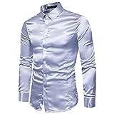 Herrenhemd T-shirt,Dasongff Mode Persönlichkeit Herren Hemden Shirt Slim Langarmshirt Tops Freizeit Hemd Business Hemd Bluse (L, Silber)