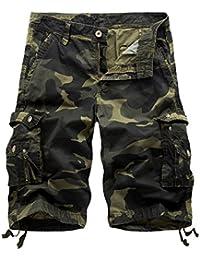 Vertvie Herren Vintage Cargo Hose Bermuda Shorts Kurze Hose Strandhose  Knielang… 80c1183161