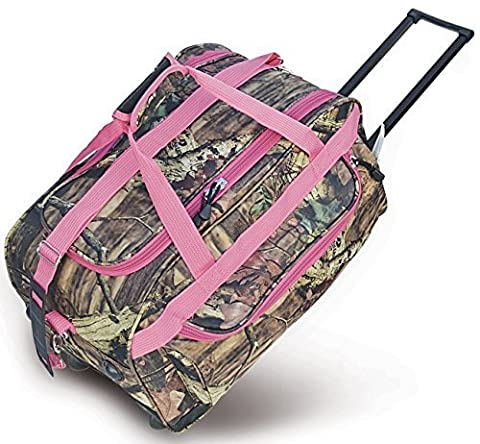 Explorer Mossy Oak with Pink Trim -Realtree Like- Hunting Camo 22 Inch Heavy Duty Rolling Duffel Bag with Pulling Handle 2 Wheels with Adjustable Removable Shoulder Strap by