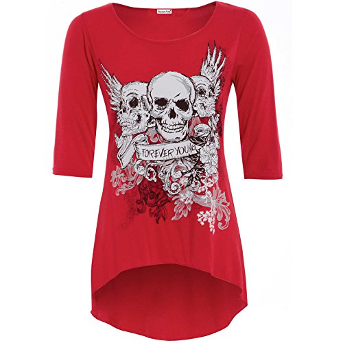 Forever Young Damen Gefahr Skull Print Unebener Saum mit 3/4-Sleeve Top Rot - Rot