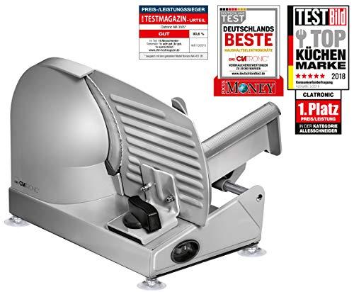 Clatronic ma 3585 affettatrice elettrica in acciaio inox, regolabile, taglio disco 19 cm, 150 w, steel