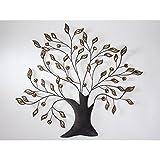 Formano Wanddeko Baum, Wandbild Metall 66 Blättern Silber Gold 80x72cm