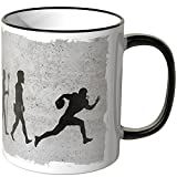 JUNIWORDS Tasse - Wähle Motiv & Farbe -Evolution Football - Schwarz