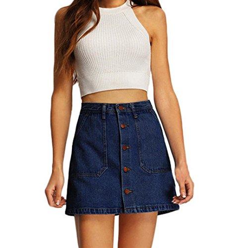 Fuibo [ Damen Rock ] Sommer Frauen Cowboy Mini hohe Taille kurze Taschen Blue Denim Röcke (Blau, M) (Denim Tasche Mini-rock)