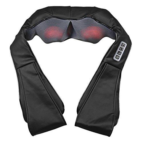Plus Shiatsu-rücken-massagegerät (FEEGO Schulter Massagegerät für Nacken Schulter Rücken mit Shiatsu Wärme 3D-Rotation Masseur Massage für Haus Büro Auto)