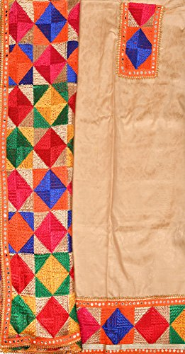 Exotic India Phulkari Salwar Kameez Fabric from Punjab with Self-Weave and Patch...