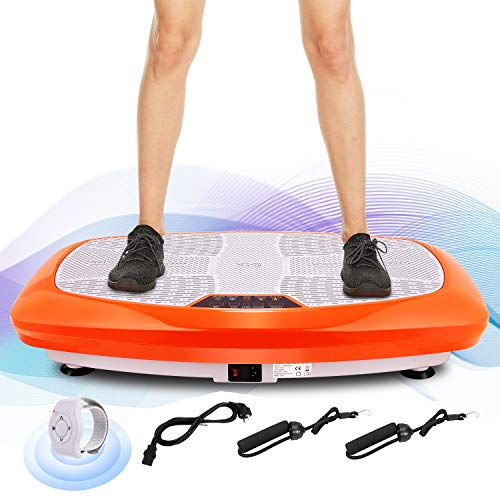 Ancheer 3D Unisex-Adult Vibrationsplatte Ganzkörper Trainingsgerät rutschfest, Vibrationsgerät mit Armband Fernbedienung LCD Display Trainingsbänder (Orange)