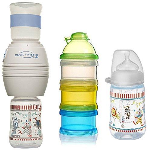 NIP Flaschenkühler Cool Twister Set // 1 x NIP Flasche 260ml mit Sauger Gr. M // 1 x Reer Milchpulver- Portionierer (Kühler Für Babynahrung)