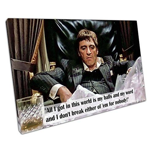 Kunstdruck auf Leinwand Zitat American Gangster Tony Montana Scarface - 91 x 61 x Depth 2cm
