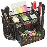 Schreibtisch-Organizer-Set, Netzstoff, Schreibtisch-Organizer, Organizer, Schreibtisch-Ablage, multifunktional, schwarzes Metall, Stifthalter (schwarz)