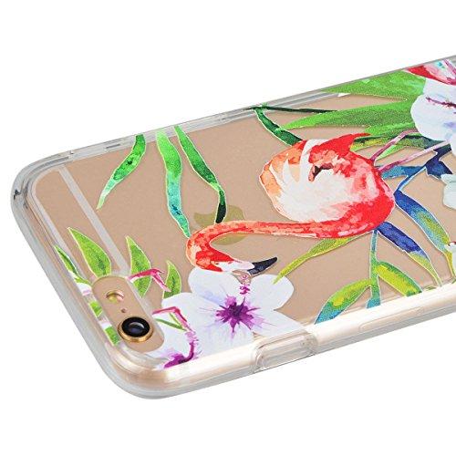 "HB-Int 3 in 1 Transparent Hülle für iPhone 6 / 6S (4.7"") Hart Kunststoff Back Case + Weich Silikon Rahmen Donuts Dünn Schutzhülle Full Body Shell TPU Rundum Tasche Beschützer Haut Protective Etui Bump Flamingo 2"