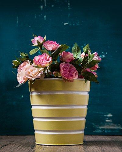 Cadeau Nouvel An, Fait Main De Plantes D'Interieur Pot Titulaire Fleur Seau Dans Blanc Stripes Interieur Exterieur Jardin Accessoire