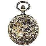 Reloj de Bolsillo mecánico de Bronce con diseño de Mickey Mouse