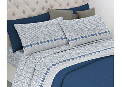 Biancheriaweb completo lenzuola in morbida flanella modello dolcevita disegno alberto 1 piazza e mezza azzurro