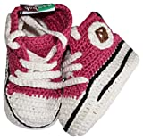 Baobab Schuhe, handgehäkelte Baby Bio Sneaker, 7-14 Monate (Pink2)