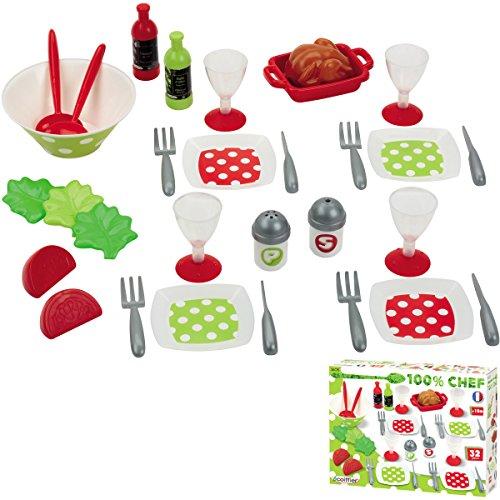 Unbekannt Puppenservice Spiel-Dinner-Set für 4 Personen, 32 Teile: Puppen Service Puppengeschirr Spielzeug Zubehör für Spielküche