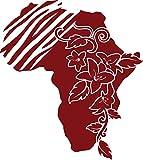 GRAZDesign 630226_57_030 Wandtattoo Afrika Umriss Blumen Streifen | Wand-Aufkleber als Deko im Wohnzimmer/Büro (64x57cm//030 dunkelrot)