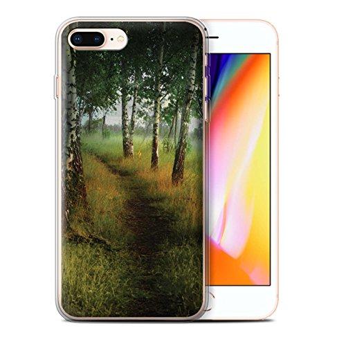 Officiel Elena Dudina Coque / Etui Gel TPU pour Apple iPhone 8 Plus / Ville dans Arbres Design / Fantaisie Paysage Collection Arbre/Sentier