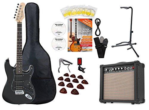 Rocktile Super Kit Komplettset E-Gitarre (Verstärker, Stimmgerät, Kapodaster, Gurt, Plektren, Tasche, Gitarrenständer und Schule inkl. CD/DVD) - Kits Elektrische Gitarre