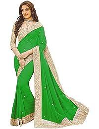 B Bella Creation Women's Chiffon Saree With Blouse Piece (Green Stone Embolish_Green)
