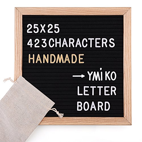 Ymiko Letter Board Filz, Buchstabe Board, schwarz Filz mit 423 Weißen Buchstaben und Zahlen – Holz 25 x 25 x 2 cm, Buchstabenbrett Tafel mit 1 Aufbewahrungstaschen, Retro Design