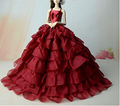 BU-02 Schöne und modische handgefertigte elegante schöne Hochzeit Abend-Partei-Kleid für Barbie Puppe(Puppen nicht im Lieferumfang enthalten) (blau)
