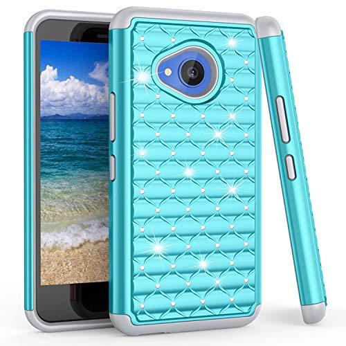 Bis für HTC U11Life Fall, bis (TM) Nieten Strass Kristall Diamant Bling Sparkly Luxus, Hybrid-Dual-Layer Rugged Defender Cute Glitzer Schutzhülle für HTC U11Life 13,2cm, blau Htc Touch Defender Case