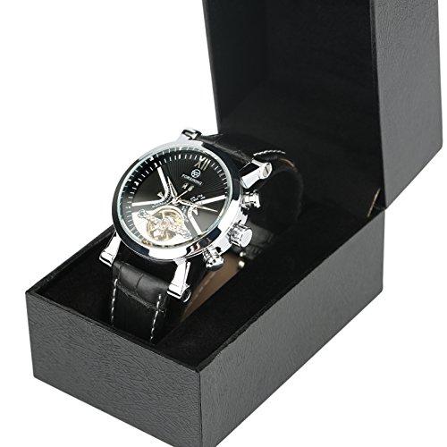 yisuya Herren Tourbillon-Uhr Leder-Uhr, Schwarzes Zifferblatt mit Silber-Gehäuse, zum selbstaufziehen Analog-Armbanduhr