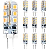 [10 Pcs] Anpro 2 Watt DC 12V G4 24 LED Bulb 2835 SMD LED Replacement of 20W Halogen Lamp (Warm White)