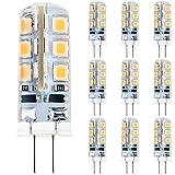 Anpro 10 Stück Glühbirne 2 Watt DC 12V G4 24 LED Lampe 2835 SMD, Ersatzteil für 20W Halogen Lampe, Warmweiß [Energieklasse A++]