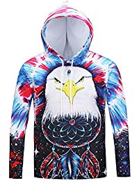 BUSIM Men's Long Sleeve Sweater Autumn Winter Eagle Print Casual Slim Hooded Pullover Sweatshirt Jacket Jacket...