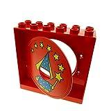 Bausteine gebraucht 1 x Lego Duplo Kugelbahn Halter rot Tür Tor Klappe rot mit Zauberer Fee und Zauberstab Röhre 31193pb05 31191