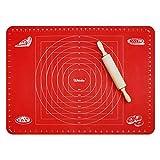 webake 70x50cm Silikon Backmatte Teigmatte Ausrollmatte Backmatte für Teigrollen Arbeitsmatte für Fondant - Rot