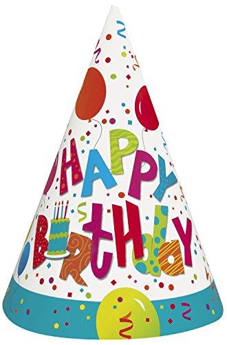 rtyhüte zum Geburtstag, Aufschrift Happy Birthday, 8Stück ()