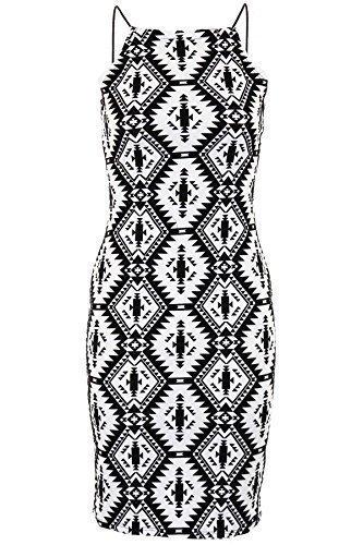 Sapphire imprimé aztèque Femme Monochrome femme-Velours Noir Sexy Robe Bodycon courte pour femmes Noir/Blanc
