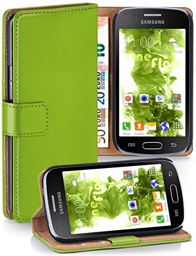 MoEx® Booklet mit Flip Funktion [360 Grad Voll-Schutz] für Samsung Galaxy S Duos 2 | Geldfach und Kartenfach + Stand-Funktion und Magnet-Verschluss, Grün