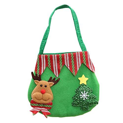 Chen Rui (TM) Sac Fourre-Tout pour Cadeau Sac de Bonbon/Pomme pour Décoration de Noël Rouge/Vert (D)