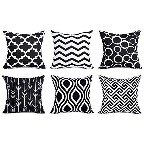 Top finel federe cuscini in cottone lino guadrati decorativi in divano letto sedia un serie include 6 pezzi 45 x 45cm nero