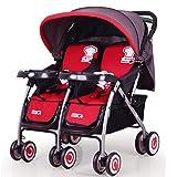 XUE Passeggino gemello Baby, può sedersi reclinabili seconda Auto Pieghevole con Sistema di Sicurezza a 5 Punti e Multi-Posizione Sedile reclinabile esteso baldacchino Facile Una Mano Piega