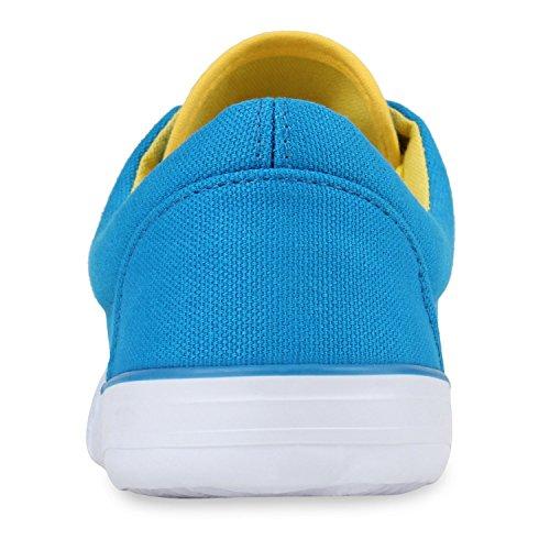 Damen Hellblau Sneakers Schuhe Turnschuhe Print Stoff Low Schnürer Basic Muster Animal Freizeit Sneaker 1Sp17