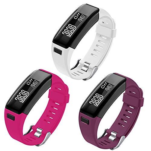OenFoto Fascette sostitutive compatibili Garmin Vivosmart, Cinturini Sportivi per Garmin Vivosmart HR (3 Pack-White/Purple/Rose)